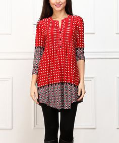 This Red Diamond & Dot Notch Neck Tunic by  is perfect! #zulilyfinds