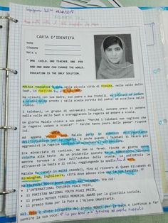In attesa di … DIRITTI IN MARCIA 2017 – IV EDIZIONE Attività di ITALIANO Le pettorine Il cartellone Malala Yousafzai, Bullet Journal, Classroom, Teaching, School, Alphabet, Biography, Studying