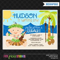 BABY LUAU Boy Birthday Party INVITATION or Thank You Card Personalized Printables (553)