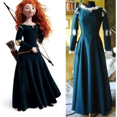 Merida Brave Disney pixar princess dress ($398) ❤ liked on Polyvore featuring dresses and blue dress