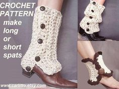 CROCHET Pattern 109 Long or Short SPATS... make them to fit any size leg.  Permission to sell your finished items.. $3.99, via Etsy.