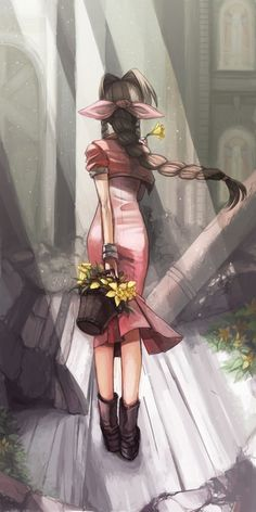 """nathanielemmett:  """"They say you can't grow grass and flowers in Midgar. But for some reason, the flowers have no trouble blooming here. I love it here.""""(x)"""