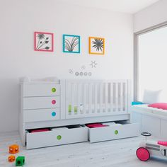 Modern convertible cribs Zero Orbit Alondra with drawers.