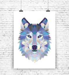 Wolf Geo Wall Art Print  by MilaLuPrintsShop on Etsy