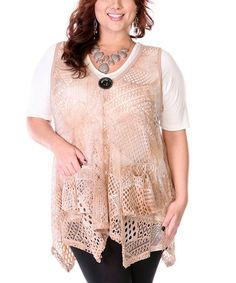 Look at this #zulilyfind! Mocha & Coral Sheer Handkerchief Swing Top - Plus by Lily #zulilyfinds