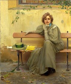 Sogni, La rêveuse, 1896 - Vittorio Matteo Corcos Peintre italien - Galeria Nazionale d'Arte Moderna, Roma Italian Painters, Italian Artist, Gallery Of Modern Art, Art Gallery, Belle Epoque, Galerie D'art Moderne, Fra Angelico, Frank Stella, Illustration Art