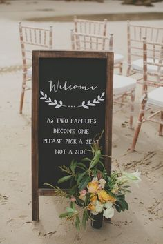 Simplistic wedding chalkboard welcome sign