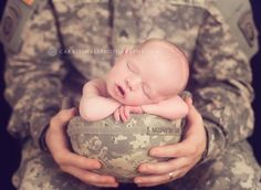 The cutest Army baby pic...Great idea for military themed photos too!