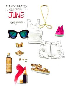 New Blog! June Illustrated essentials. How to have more fun every day and live like a Summer Goddess... http://blog.emilybrickel.com/how-to-have-more-fun-daily-and-look-like-a-goddess-from-work-to-meals-to-fashion-and-fitness/#sthash.XuolMOm2.dpbs  illustrated essentials June, white, white hot, goddess, clarins, tom ford, aldo, pop of color by Emily Brickel