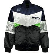 Seattle Seahawks G-III Sports by Carl Banks Shout-Out Satin Jacket - College Navy