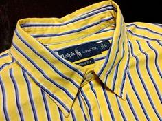 RALPH LAUREN Classic Fit Mens L Yellow Blue White Striped Long Sleeve Shirt #RalphLauren #ButtonFront $24.99