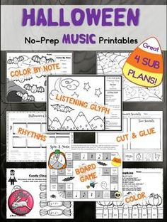 Halloween music worksheets, printables, and board game.  Use for Sub Plans and Centers #sillyomusic