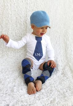 Baby Boy Personalized Tie Onesie and Leg by ChicCoutureBoutique, $31.95