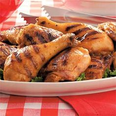 Picnic Recipes from Taste of Home -- including Grilled Thighs and Drumsticks Recipe