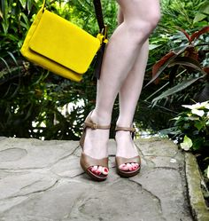 Sandales lilas nude et Sac Mandol suede Jaune #avrilgau #bags #shoes #springsummer2016