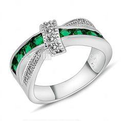 Anéis,Anéis Statement,Jóias Casamento / Pesta / Diário / Casual / Esportes Zircão / Gema Verde 1pç,6 / 7 / 8 / 9 / 10 Feminino - USD $8.99