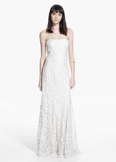 Online exclusive - kanten strapless jurk | MANGO