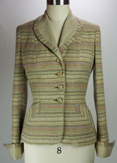 Vintage 1940s Striped Tailored Wool Jacket- Exquisite!! by TunnelofLoveVintage on Etsy
