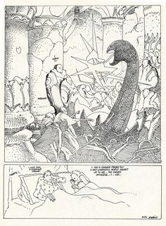 """""""Marie Dakar,"""" a dream comic by Moebius, was originally published in Dark Horse Presents #63, June 1992 (it was created sometime in the late 80s). This scan, which was re-lettered by hand and includes a new color back cover/title page, is from the reprinted version which appeared in Rare Bit Fiends #7, published by Rick Veitch's King Hell Press, January 1995"""