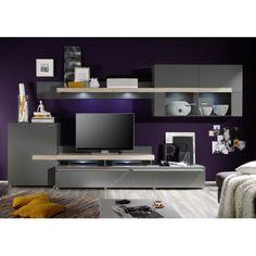 HERA II - design wall unit anthracite-maple decor cabinet TV stand