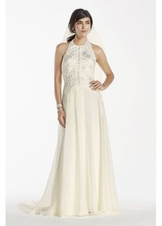 dafe885652a Deco-Inspired Beaded Chiffon Halter Gown SWG696 Halter Gown