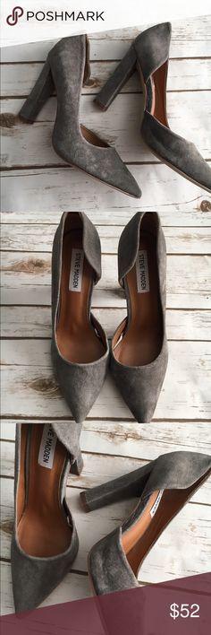 "Steve Madden grey heels Brand new! Leather. 4"" heel Steve Madden Shoes Heels"
