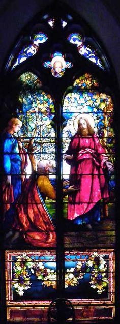 Five Tiffany Nave Windows; Trinity Episcopal Church; 389 Delaware Avenue, Buffalo, NY; Designer: Tiffany Glass Company; Style: Opalescent; Christ restoring sight to the blind; installation: 1887.