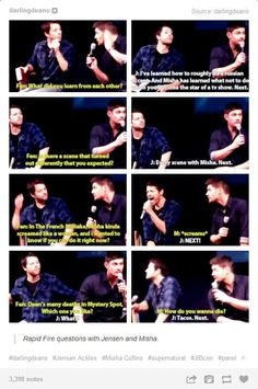 Rapid Fire Questions with Jensen Ackles and Misha Collins. Tacos. Next.
