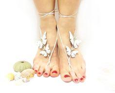 Wedding Barefoot Sandal, Barefoot sandal, Butterfly Barefoot Sandal, White, Bridal White Barefoot sandles, Genuine leather butterfly, Anklet. via Etsy.