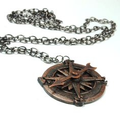 Steampunk Jewelry Compass Necklace Spinning Pointer Compass Rose Pirate Gear Copper Jewelry Steam Punk Jewelry By Victorian Curiosities