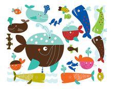 Stickers Kinderkamer, Speelse Walvissen & Vissen Stickers voor op de Muur. www.dreumesenzo.nl