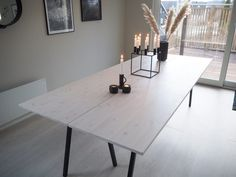 Spisebord - DIY   HVITELINJER Dining Furniture, Diy Furniture, Garden Slabs, Dinner Table, Kitchen Interior, Home And Living, Easy Diy, Sweet Home, Interior Design