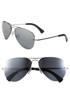 Ray-Ban 'Rimless Aviator' 59mm Polarized Sunglasses | Nordstrom