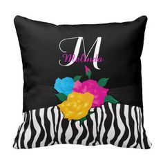 Multicolor #Roses and #Zebra Animal Stripes #pillows #zazzlebesties #zazzle #gifts