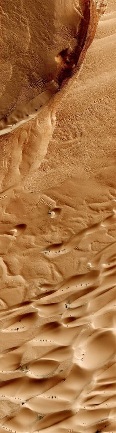 Martian plain from 200 miles up. Note the little black things on the dunes - they appear and disappear seasonally.