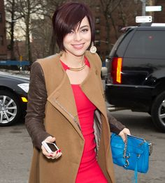 This fashion week has seemed to be the week of the newcomer actress, so let's end with another one: Krysta Rodriguez, Broadway actress and costar on Smash, carrying a Rebecca Minkoff MAC Bag.