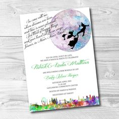 Peter Pan Invitation Printable - Peter Pan Birthday Party - Peter Pan Baby Shower Invitation - Neverland Party - Customize for any event! by 105DesignHouse on Etsy https://www.etsy.com/listing/263030799/peter-pan-invitation-printable-peter-pan