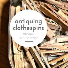 DIY aged clothespins www.homeroad.net Clothespin Cross, Wooden Clothespin Crafts, Wood Crafts, Dye Clothespins, Wooden Clothespins, How To Make Diy, Crafts To Make, Easy Crafts, Clothes Pin Wreath