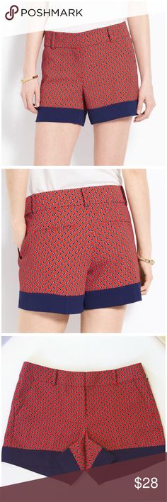 """NWOT Ann Taylor Nautical Rope Print Shorts -- 8 Ann Taylor Nautical Rope Print Shorts --- new without tags --- size 8 --- four pocket styling --- 2"""" waistband with belt loops --- silky feel polyester --- 4.4"""" inseam --- 13.5"""" outseam --- 17.5"""" waist --- no stretch --- Ann Taylor Shorts"""