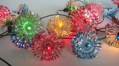 Vintage Working Strand Of 20 Multi Colored Christmas Lights With Striped Tinsel Snowflake Reflectors on Etsy, $25.00 CAD