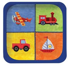 Boats, Planes, Trucks & Trains Dessert Square Plates (8) : On the Go Lunch Plates (8)  This set of luncheon size square plates are perfect for snacks and cake or dessert, and will perfectly suit your table.  If your child likes transportation, they will love this plate. The square lunch/dessert plate features an airplane, train, truck and sailboat to stimulate their imagination!