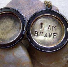 Hand Stamped Locket Necklace with Secret Message - I Am Brave