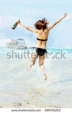Watercolor illustration of sexy Asian Thai girl in bikini is jumping with joy on the seashore of sea with alcohol bottle on her hand and water splashing for summer vacation concept