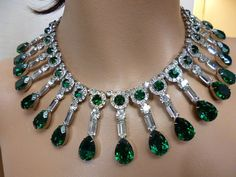Fit for Royalty  Emerald Green Clear Rhinestone by WaldportVintage