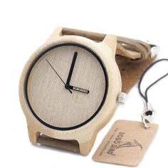 Bamboo Wood Quartz Miyota Japanese 2035 Movement Analog Watch With Leather Band | Features: Christmas Gift, Valentine Gift, Birthday Gift, Anniversary Gift