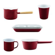 Deluxe 2-Tone White/Red Falcon Enamelware, Red