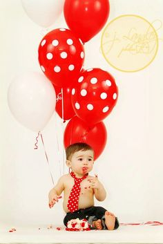 Baby Boy/ Toddler Red with White Polka Dot Tie.  Great for Mickey Mouse First Birthday or Cake Smash.. $10.00, via Etsy.