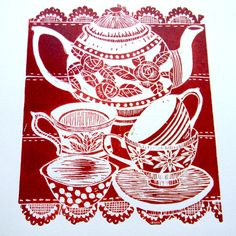 Time For Tea Original Hand Printed Lino Print (Red)