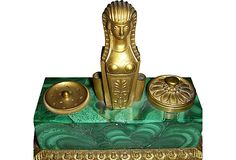 Antique gilt bronze and malachite Egyptian-revival ink stand with two gilt bronze receptacles (one with glass ink bottle) and two quill holders flanking central sphinx. Raised on bronze ball-motif feet. King Tut Tomb, Lost Art, Desk Accessories, Mail Art, Malachite, Egyptian, Bookends, Vintage Items, Decorative Boxes