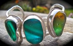 Sea Glass Triplet Cuff HAS BEEN SOLD by LonePalmJewelry on Etsy, $300.00